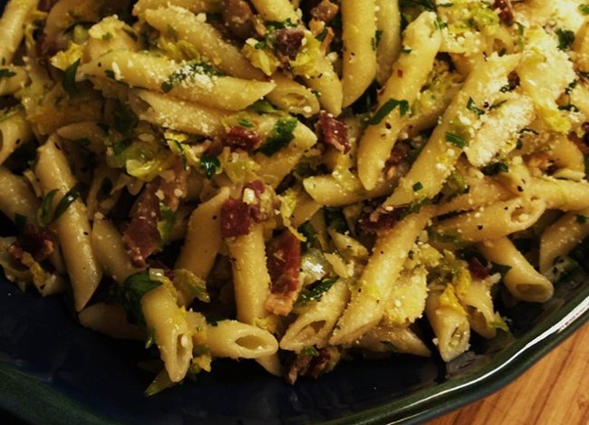 Penne-with-Brussels-Sprouts-and-Bacon-1