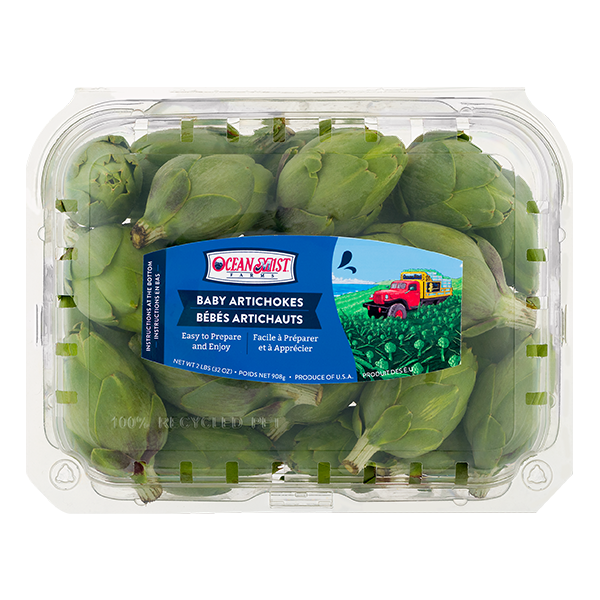 container of Ocean Mist baby artichokes