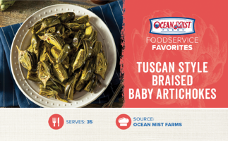 OMF- Tuscan Style Braised Baby Artichokes_Foodservice Size Recipe Card