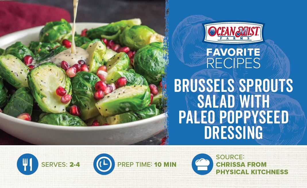 OMF-Brussels Sprouts Paleo Poppyseed Dressing Recipe Card- POS