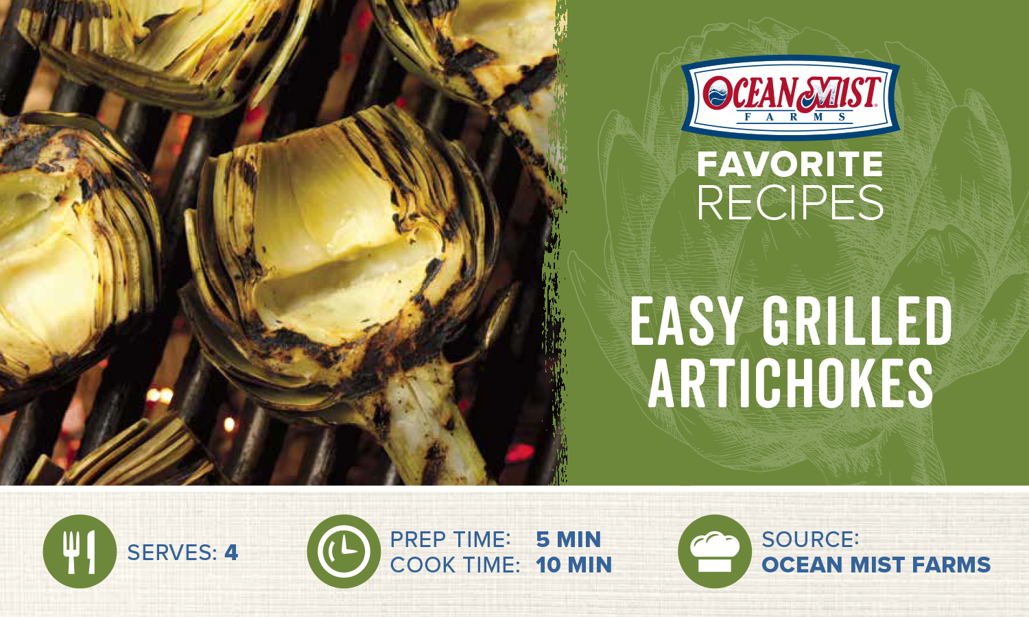 OMF Easy Grilled Artichokes Recipe Card