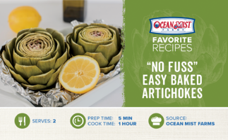 OMF-No Fuss Easy Baked Artichokes Recipe Card