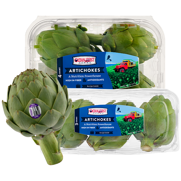 packaged Ocean Mist globe artichokes