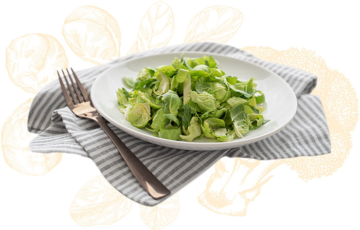 chopped Brussels sprouts in a bowl