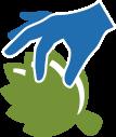 icon of a hand picking artichoke petals