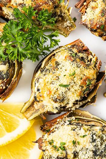 wholesomeyum-air-fryer-stuffed-baby-artichokes-recipe-with-spinach-and-cream-cheese-15