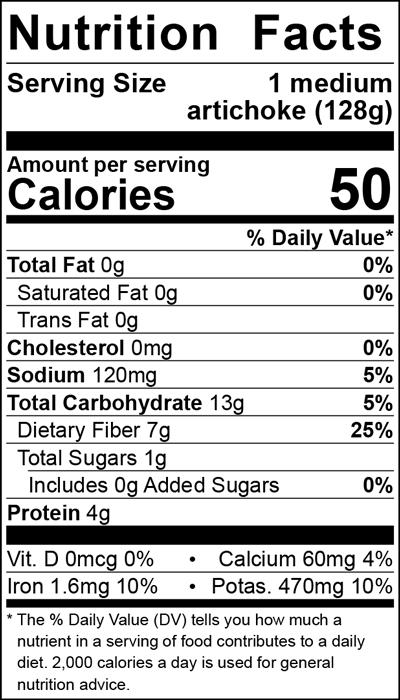 Artichoke Nutrition Label