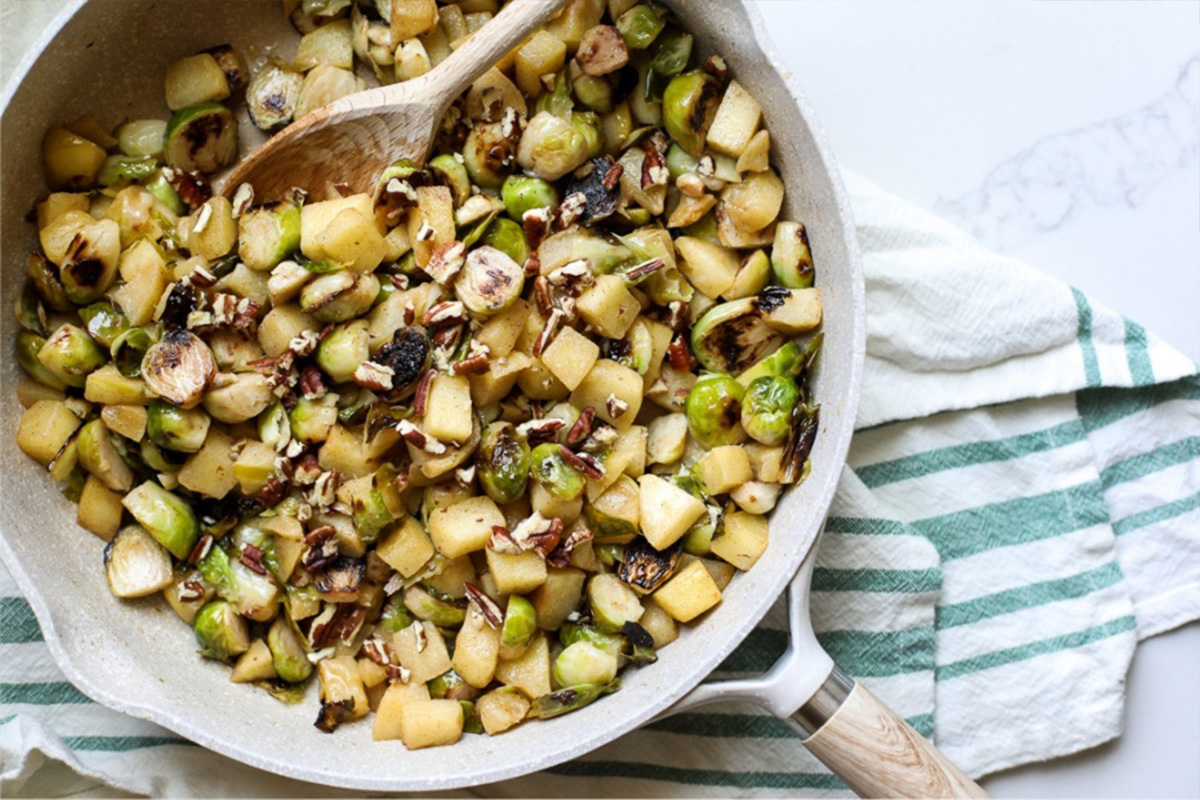 Apple Glazed Brussels Sprouts