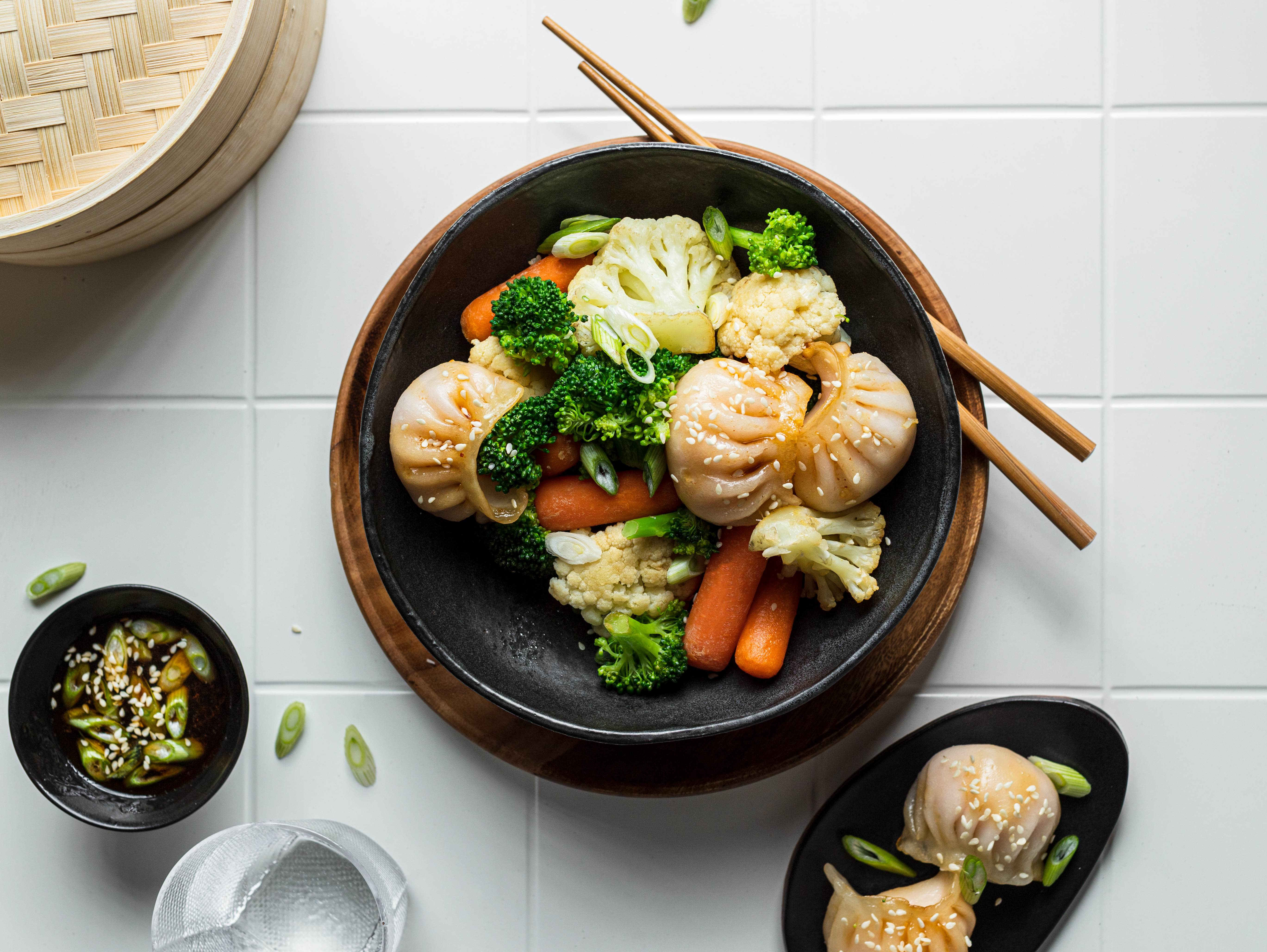 Broccoli, Cauliflower & Carrot Medley with Soy Sesame Dumplings