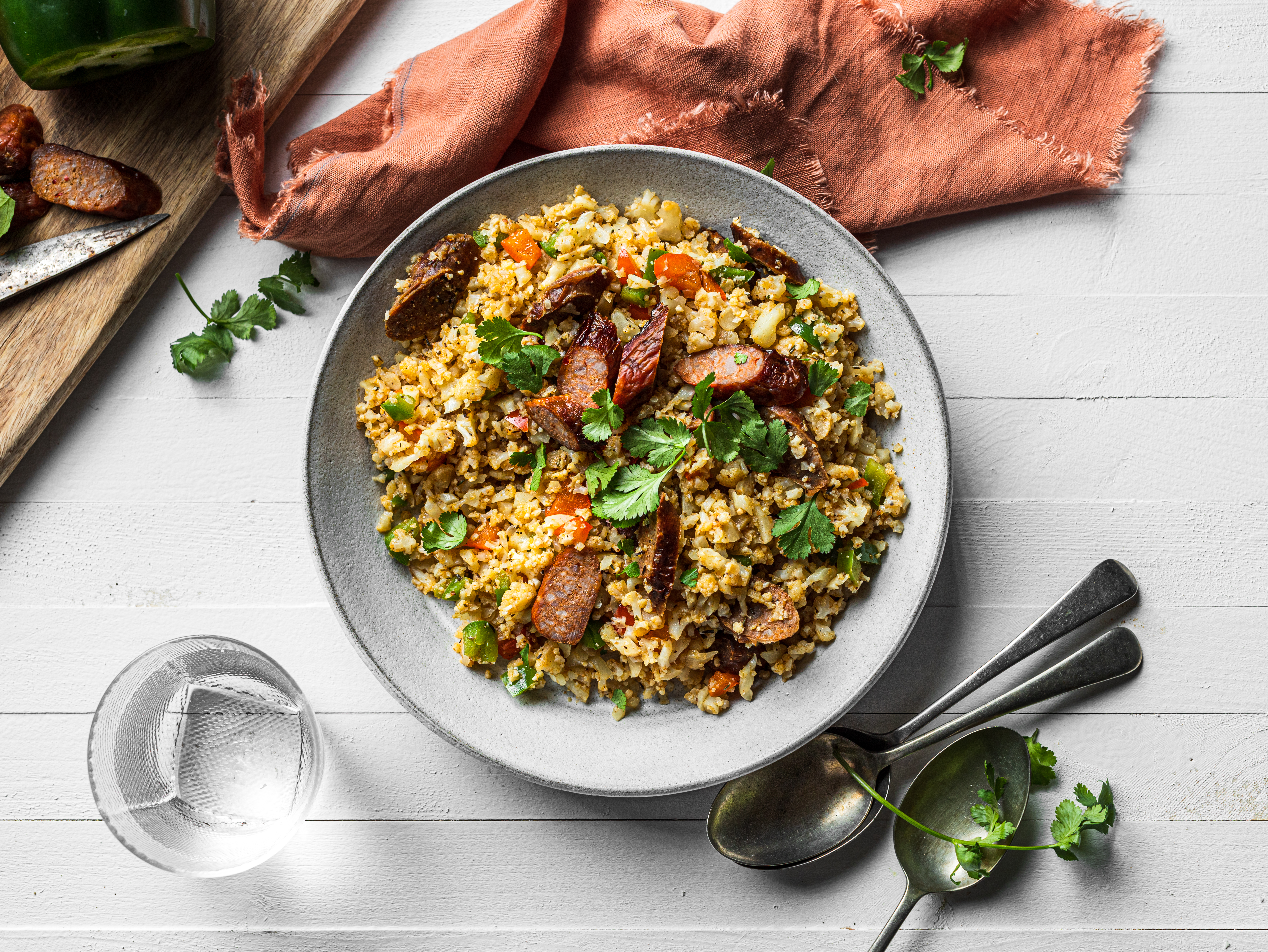 Cajun Style Cauliflower Rice with Sausage & Peppers