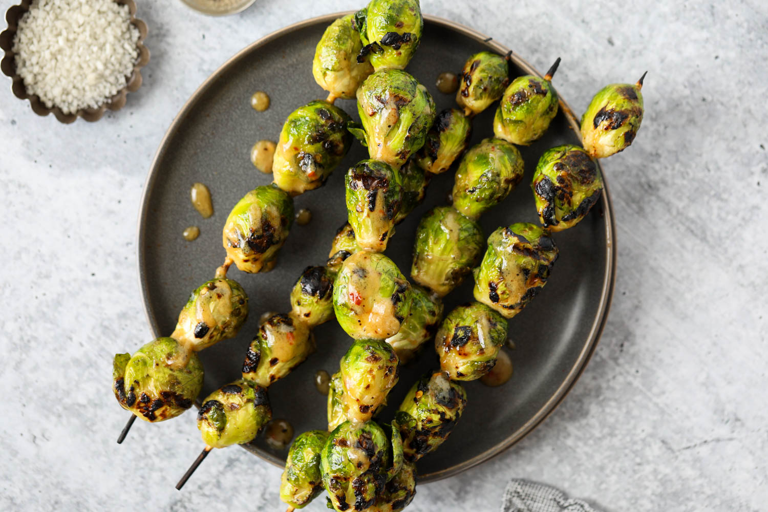 Grilled Brussels Sprouts with Maple-Mustard Glaze