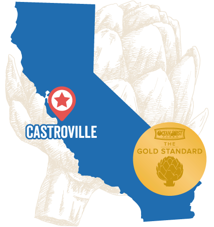 Map of Castroville with gold standard artichoke logo