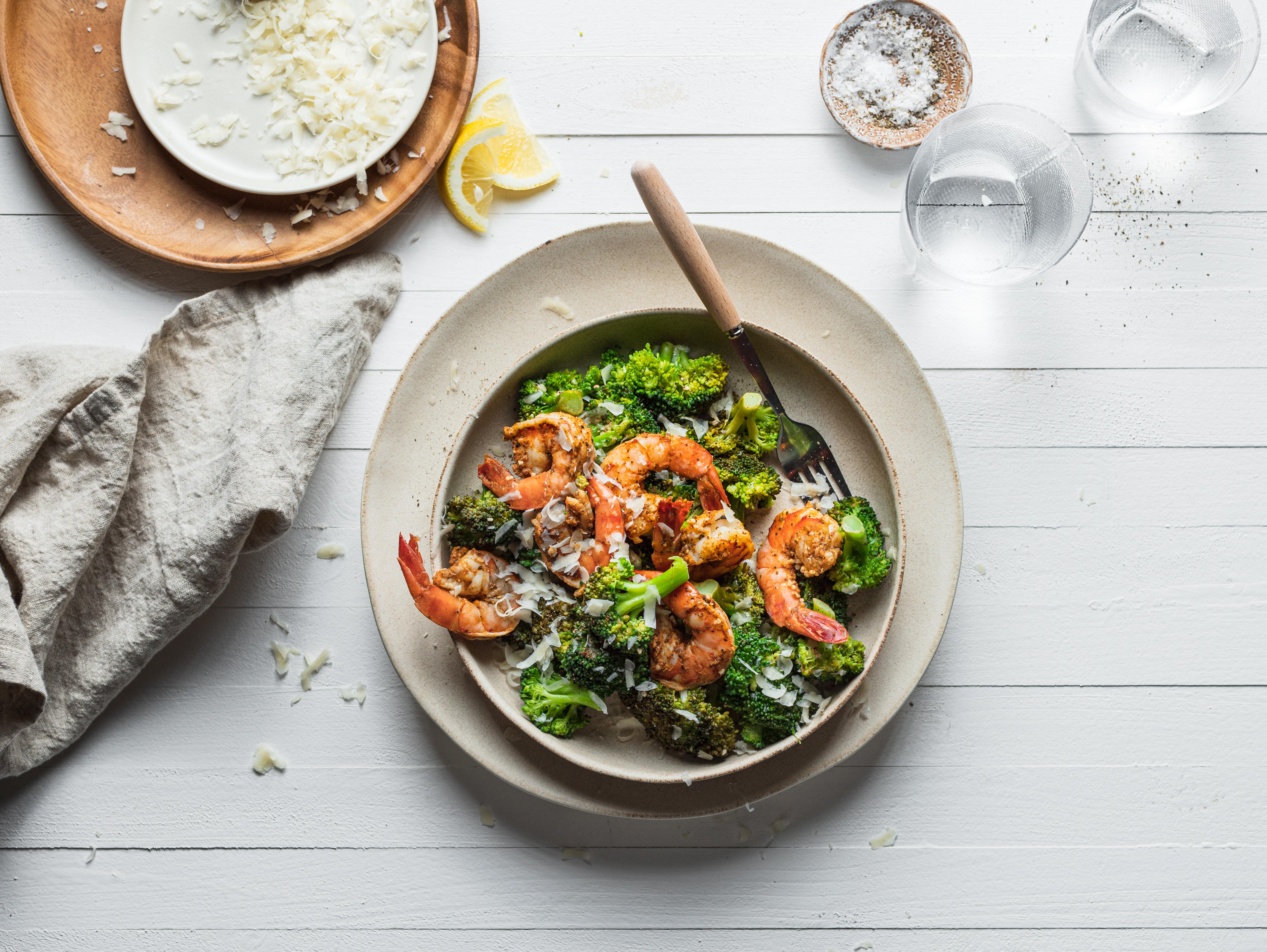 Lemon Parmesan Shrimp & Broccoli