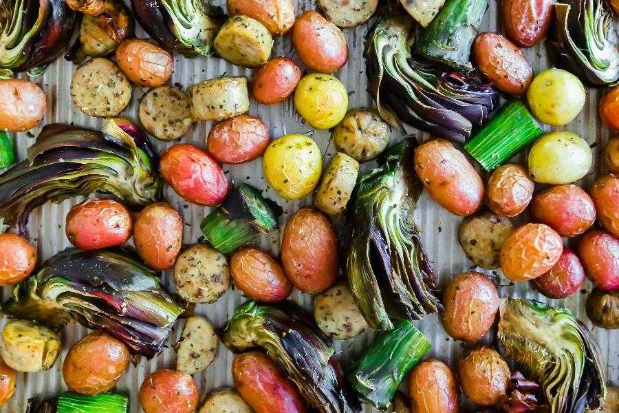 Sheet Pan Roasted Sausage Artichokes Potatoes HR-3-1